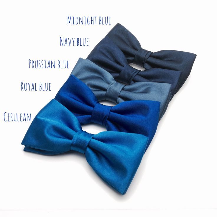 Mens Bow Tie Navy Blue Royal Blue Prussian Blue Cerulean Solid Satin BowTie for…