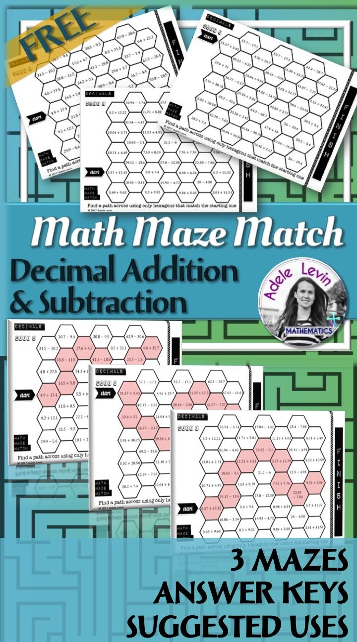 These worksheets are a fun way for students to practise addition and subtraction of decimals.