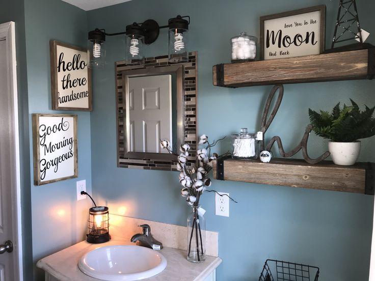 Farmhouse bathroom. #GoodMorningGorgeous #HelloThereHandsome