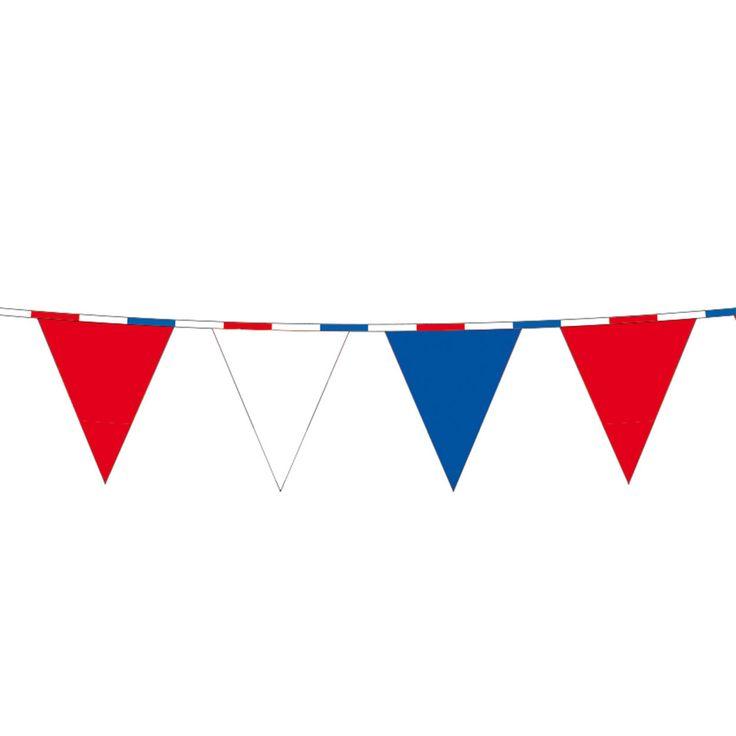 Vlaggenlijn rood wit blauw. Afmeting: lengte 10 m - Vlaggenlijn RWB, 10mtr.