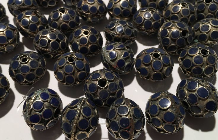 CLEARANCE! 4 PCS Vintage beads-Blue Beads HandmadeEnameled Beads-Necklace Parts,Vintage Finding,Vintage Bead Supplies-Vintage Shop-Jewelry by JewelsofNomads on Etsy