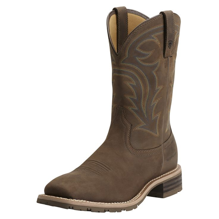 Men's Hybrid Rancher Waterproof Western Boots in Oily Distressed Brown, size 9 D / Medium by Ariat