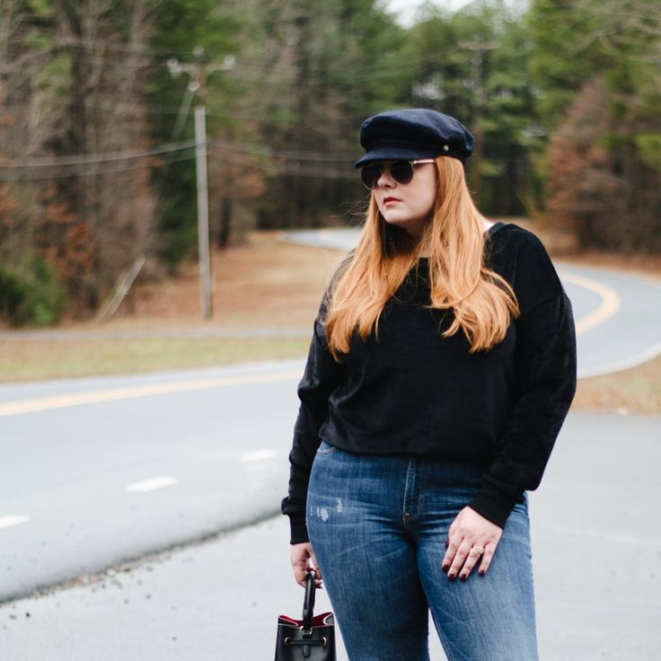 how to style the velour trend without going full tracksuit - thestylelodown.com  | sweatshirt | distressed denim | express jeans | style tips | silver pumps | block heels | curvy girl | piko tops | mini bucket bag | baker boy hat | my style | curves | red hair | round sunglasses |