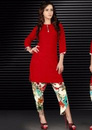 Party Wear Red Viscose Patch Work Kurti