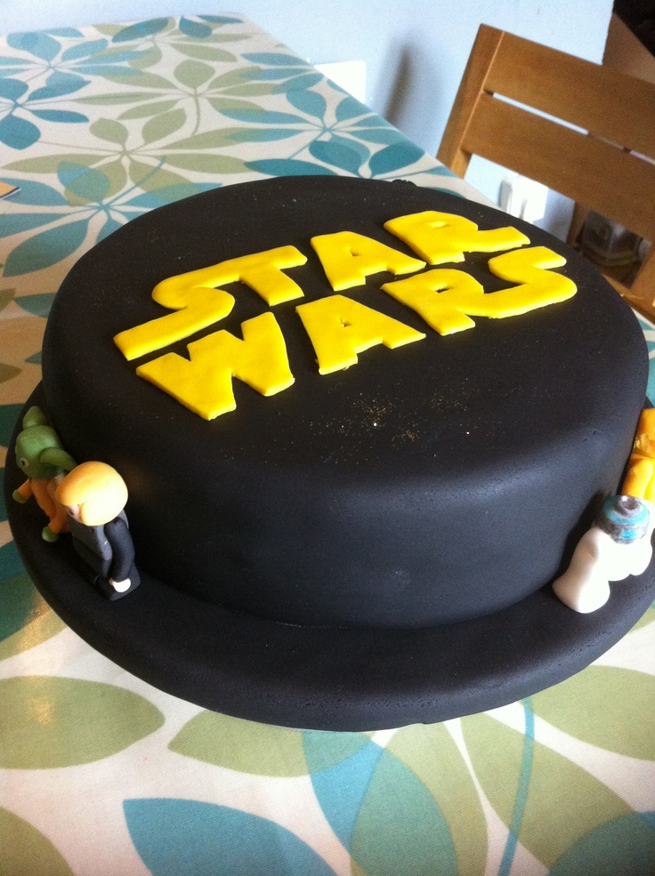 My 4yr old is mad on Star Wars so I made him a Star Wars Lego cake complete with characters (Luke, Yoda, C3PO, R2D2, Darth Vedar and Stormtrooper)