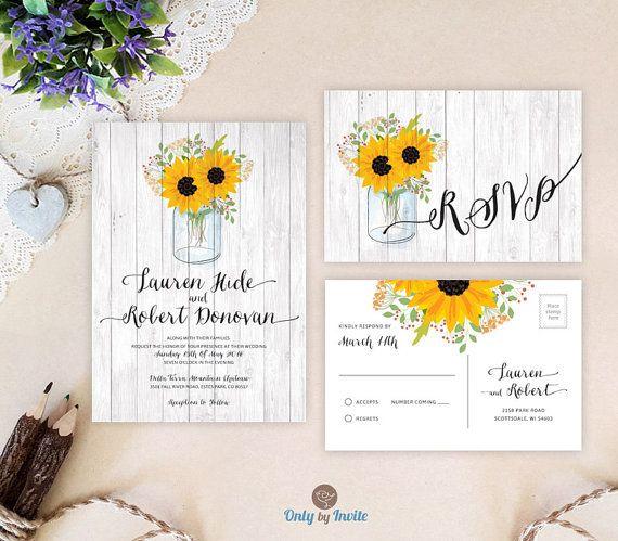 Mason jar wedding invitations printed on premium cardstock | Sunflower themed wedding invites | Rustic wedding invitations cheap