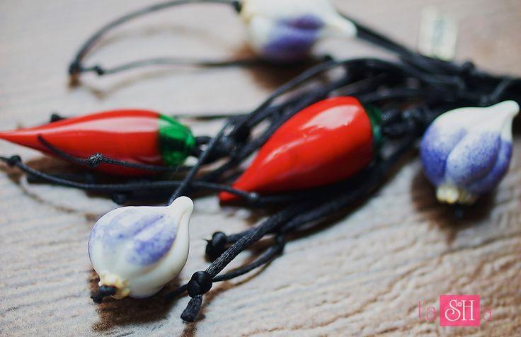 Hot Chili Pepper Garlic Pendant Red pendant Glass Lampwork Pepper Pendant by tashabiju on Etsy