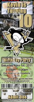 PITTSBURGH PENGUINS TICKET STYLE INVITATIONS (WITH ENVELOPES)