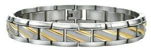 Ax Jewelry Mens Diagonal Stripped Bracelet In Stainless Steel
