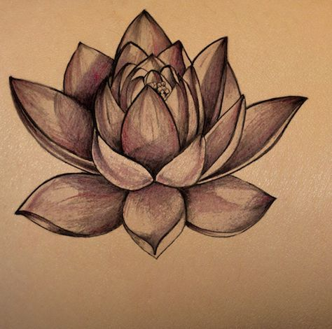 lotus flower on dark skin | tattoo stencil – temporary tattoo