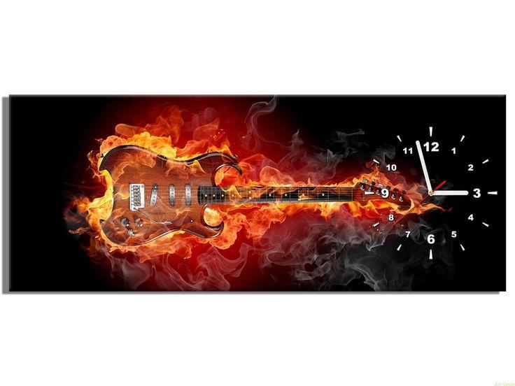 Zegar na płótnie Płonąca gitara 100x40 OBRAZY Z ZEGAREM Galeria obrazów Art Verde