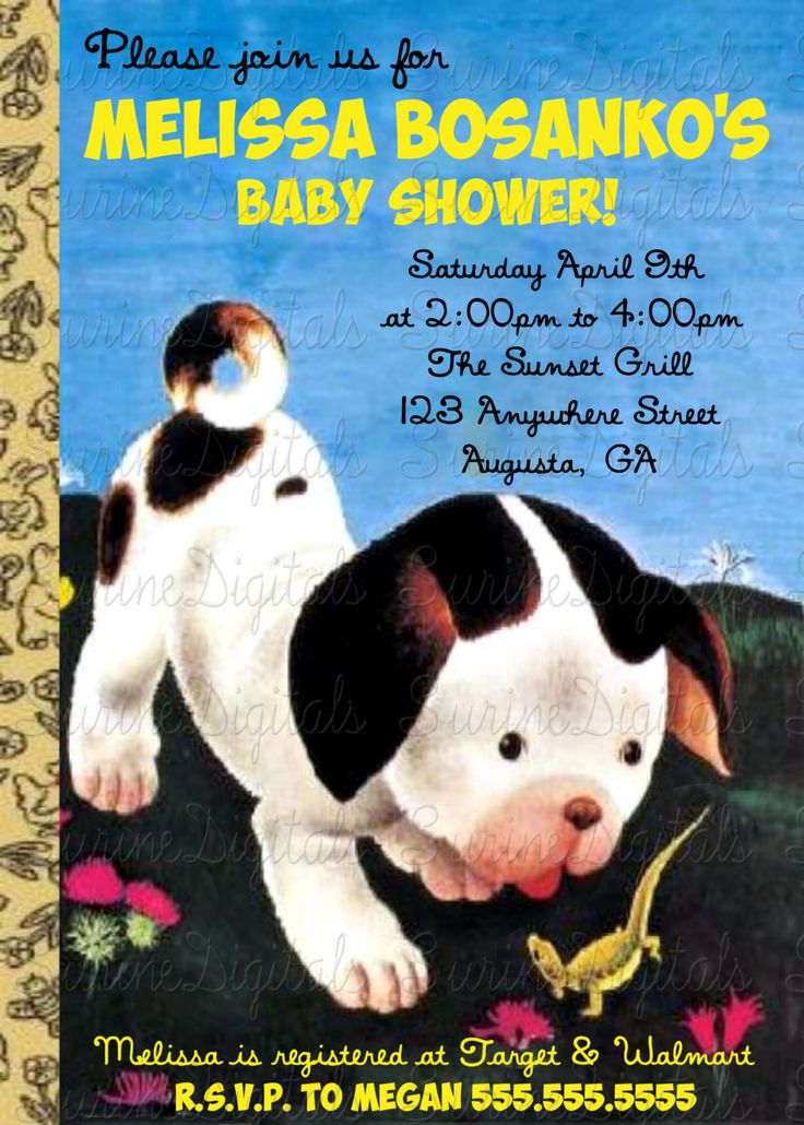 Poky Puppy Baby Shower Invitation, Little Golden Book Shower Invite, Story Book Baby Shower Invitation by SurineDigitals on Etsy