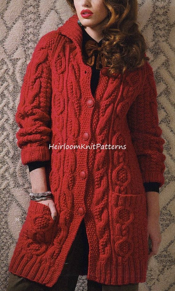 Knitting Jacket Designs : Aran style long jacket coat knitting pattern chunky bulky