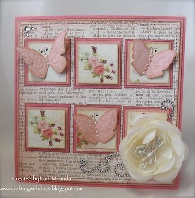 pink and white card collage with inchie are, dimensional butterfies and flower..book paper...beautiful...