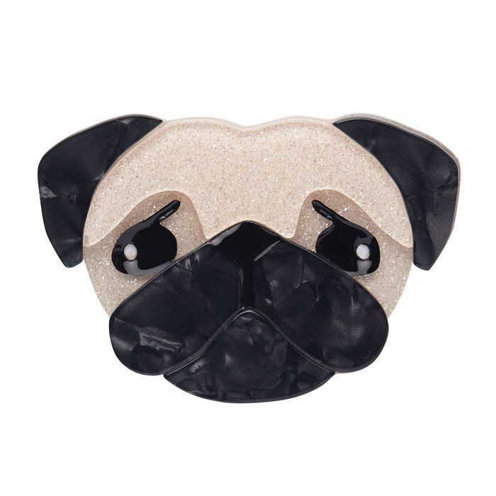 What's cuter than a pug? An Erstwilder pug! In glittery gold and gunmetal grey, Pierre the pug comes back as a brooch.