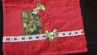 LOY HANDCRAFTS, TOWELS EMBROYDERED WITH SATIN RIBBON ROSES: TOALHA LAVABO