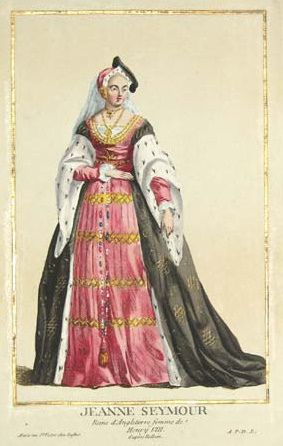 A french 18th century colored engraving of Jane Seymour. 'Jeanne Seymour Reine d'angeleterre, femme de Henry VIII'