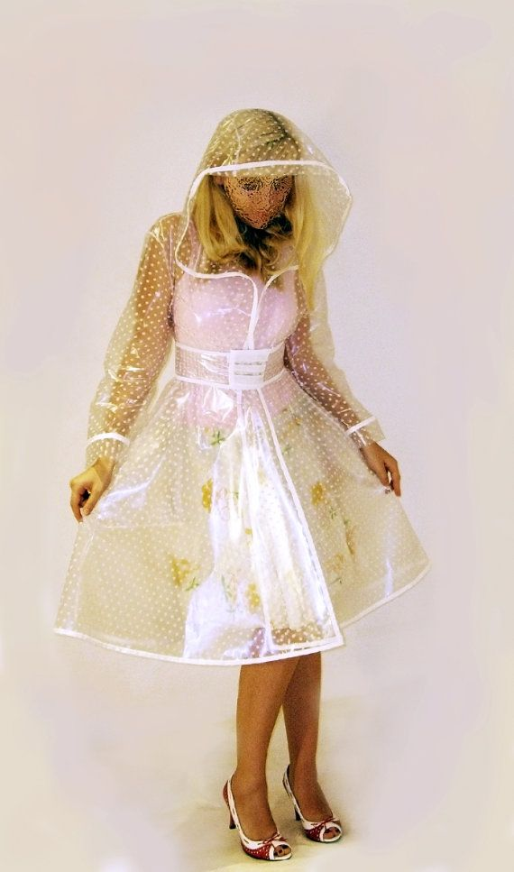 PVC Plastic Transparent Trench Raincoat dress Vinyl Coat Clear PU with white polka dot