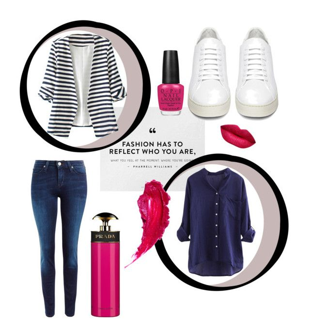 """""""Navy Pink"""" by renicherie on Polyvore featuring WithChic, Lee, Off-White, Charlotte Tilbury, OPI, Prada, women's clothing, women, female and woman"""