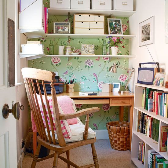 country home office. compact country home office with floral wallpaper i
