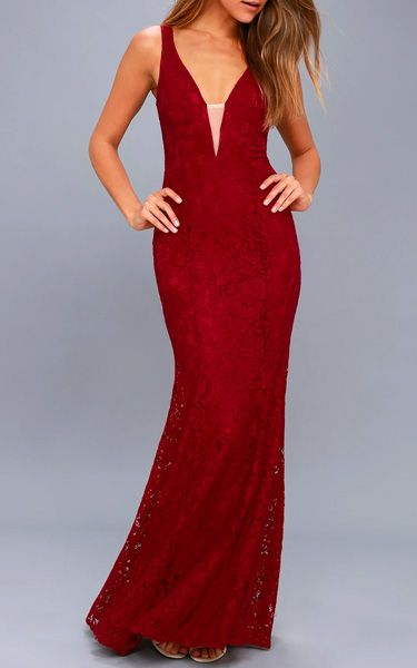 Everly Wine Red Lace Maxi Dress