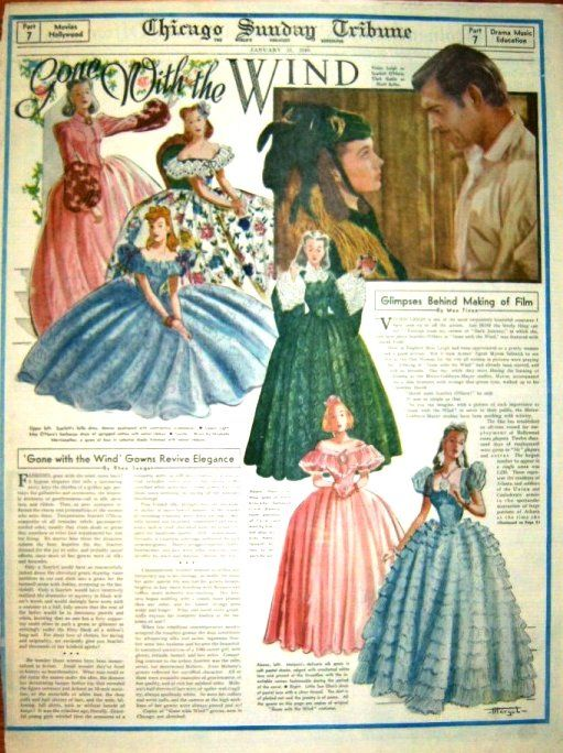 Articles about 'Gone with the Wind' in the Chicago Sunday Tribune, Jan. 1940