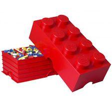 Lego Storage Brick 8 Building Blocks Gift Kids Storage Box Red L4004LMR