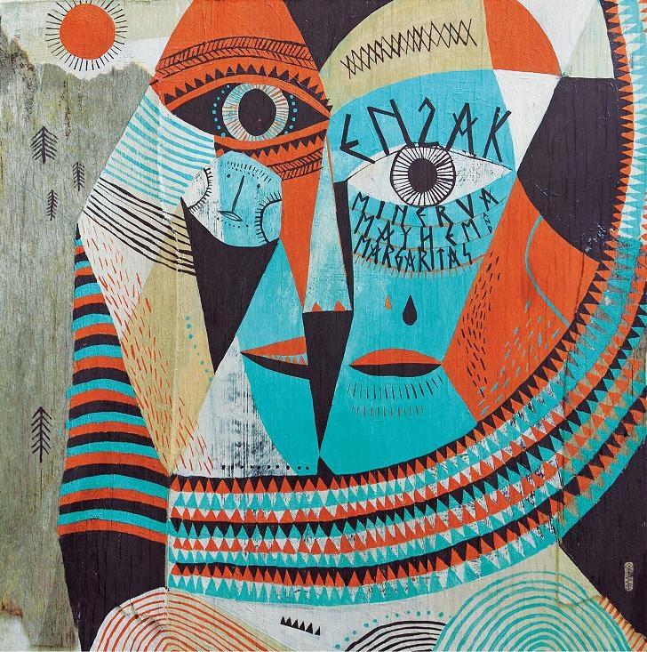 """en2ak """"Minerva, Mayhem and Margaritas"""" LP cover (U Know Me Records) made by Otecki"""