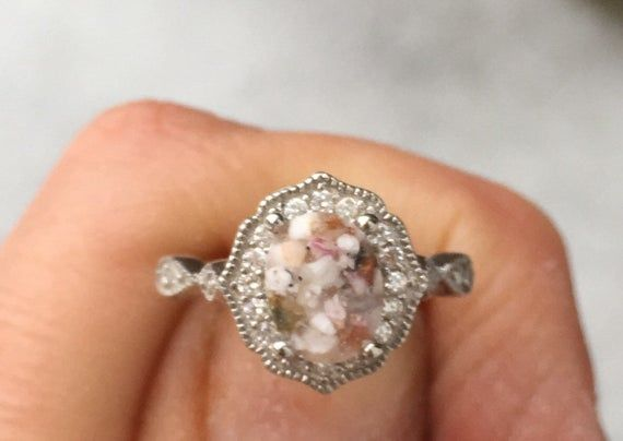 Vintage Style Ring Pet Ashes Pet Cremation Jewelry Cremation Ring Oval Art Deco Ring Pet Urn Pet Ash Ring Sterling Crystal Ring