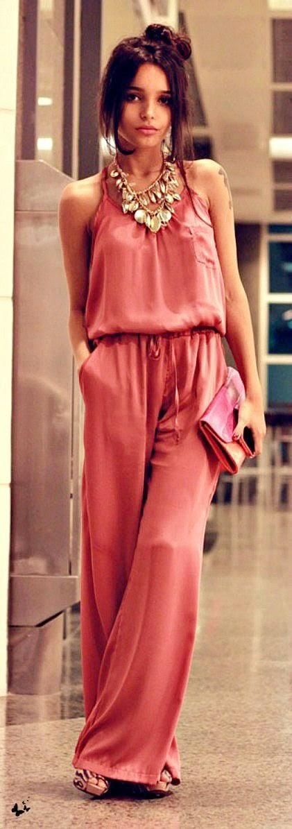 @roressclothes clothing ideas #women fashion red jumpsuit