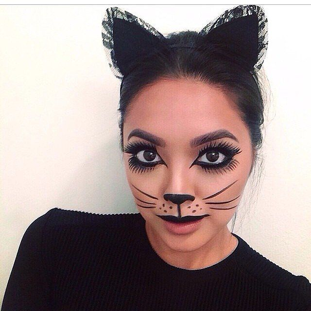 Try this makeup look right meow.  What you need to do: Use black eyeliner to create an overexaggerated and dramatic cat eye by extending the line onto your nose. Color in the lower portion of your nose, and draw whiskers. Adding black lipstick and ears will complete the look.  Source: Instagram user dominique_sj