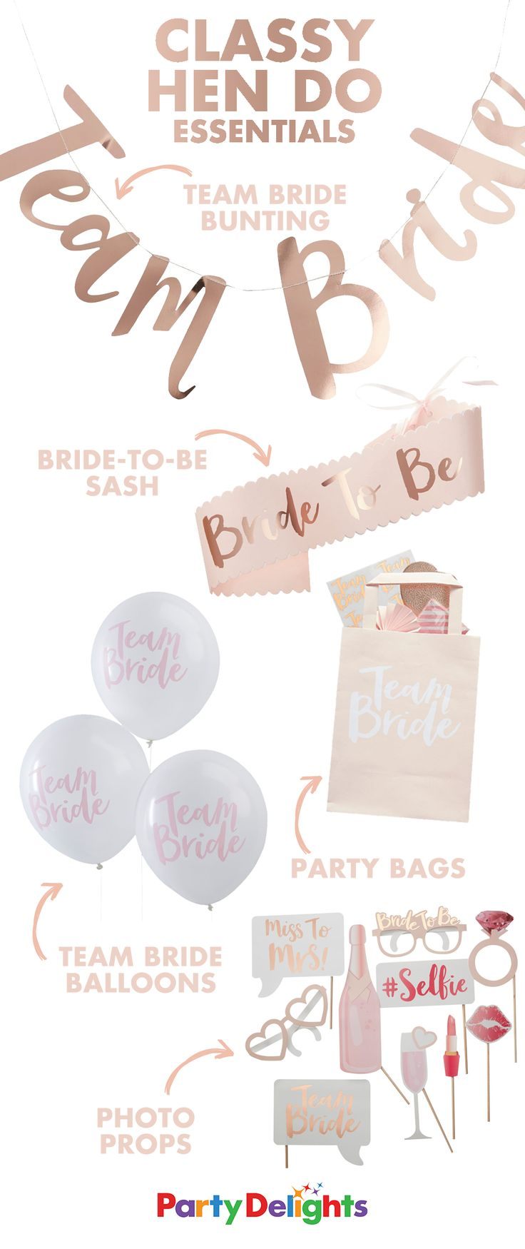 Celebrate the bride-to-be's last night of freedom with these hen party essentials! Browse our Team Bride party supplies at partydelights.co.uk.