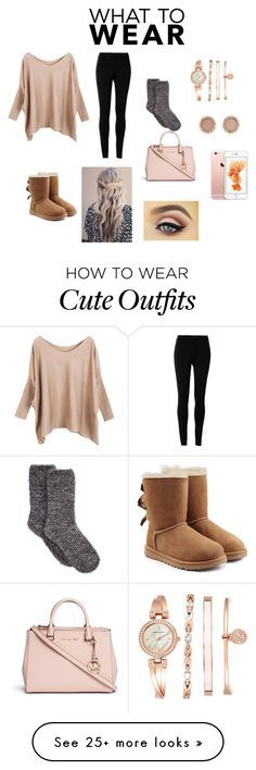 """Rosegold Outfit!!!"" by dancelover102803 on Polyvore featuring Max Studio, UGG Australia, Charter Club, Michael Kors and Anne Klein"