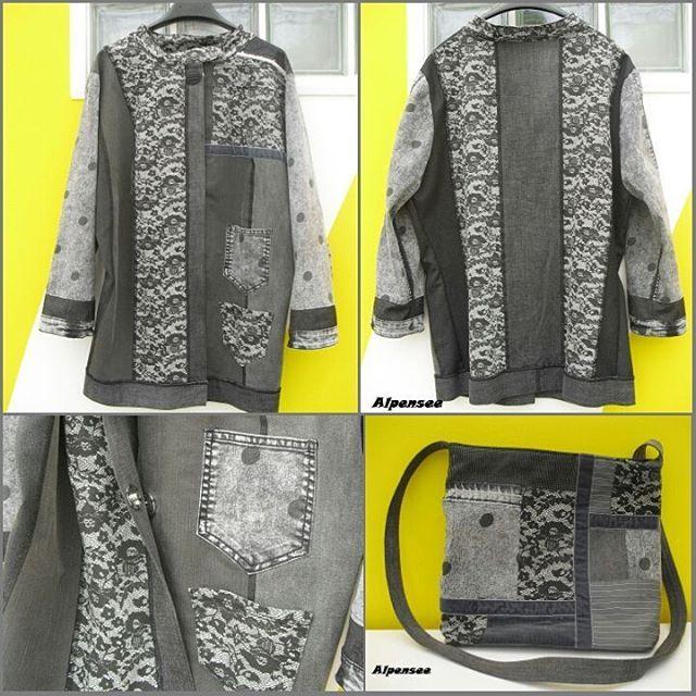 Вспомнила, что не показывала здесь этот джинсовый жакет отдельно, только в комплекте с сумкой. Частично это утилизация старых джинсов, а джинсы в горошек и кружевные совсем новые. / I've noticed that didn't show yet this denim jacket. It's half upcycled, polkadot and lace jeans were new #alpensee_bags #alpensee_clothes #denimjacket #denimbag #patchwork #patchworkbag
