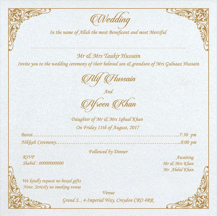 Muslim Wedding Invitation Wording: Wedding Invitation Wording For Muslim Wedding Ceremony In