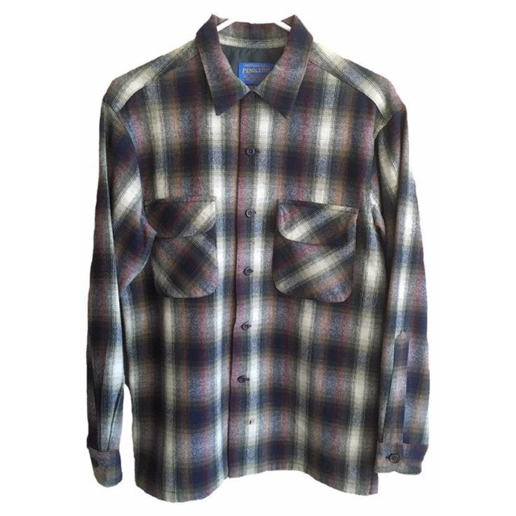 Pendleton Flannel Vintage Authentic mens womens size small plaid long sleeve collared purple grey black white button down western country by VELVETMETALVINTAGE on Etsy