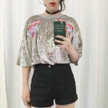 2016 HARAJUKU top femelle broderie pistolet sangle arrière velours lâche t-shirt à manches courtes B4542(China (Mainland))