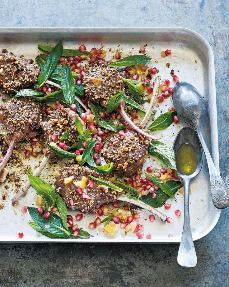 Dukkah lamb cutlets with mint and pomegranate salad | Lamb recipes | SBS Food