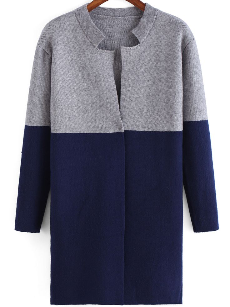 Colour-block Stand Collar Loose Sweater Coat