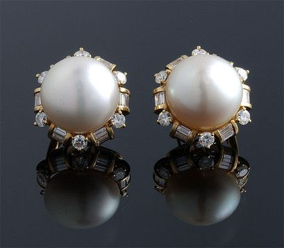 South Sea Pearl & Diamond #Earrings  #diamonds #pearls #jewelry