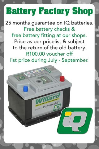 Get R100 off – on Willard IQ battery