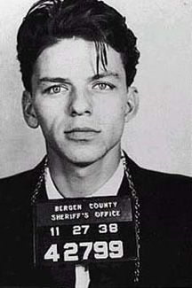 This famous mugshot of Frank Sinatra was taken after his arrest for seduction and adultery.