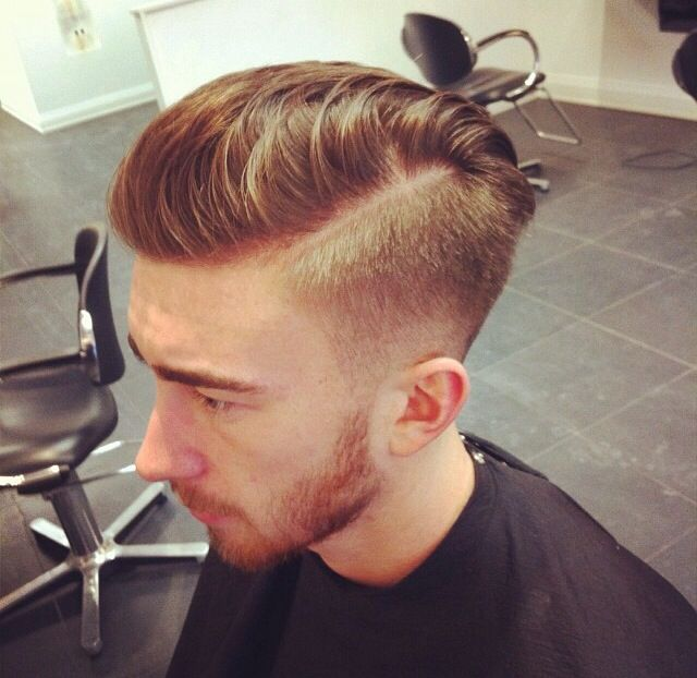 Faded Side Parted Mens Cut