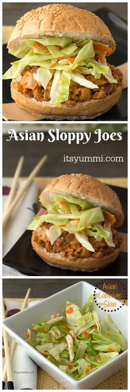 Asian Sloppy Joes with Cabbage Slaw - A healthy, kid-friendly dinner that combines Asian and All American cuisine together! Recipe on itsyummi.com