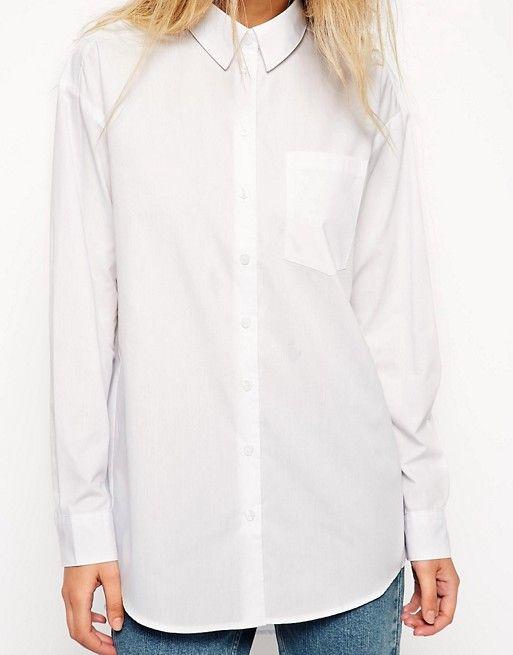 ASOS   Белая рубашка бойфренда ASOS