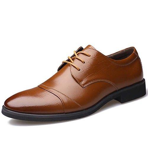 Hombre Zapatos Cuero Primavera Verano Otoño Invierno Botas de Moda Confort Oxfords Con Cordón Para Casual Fiesta y Noche Negro Marrón 2017 - $27.99