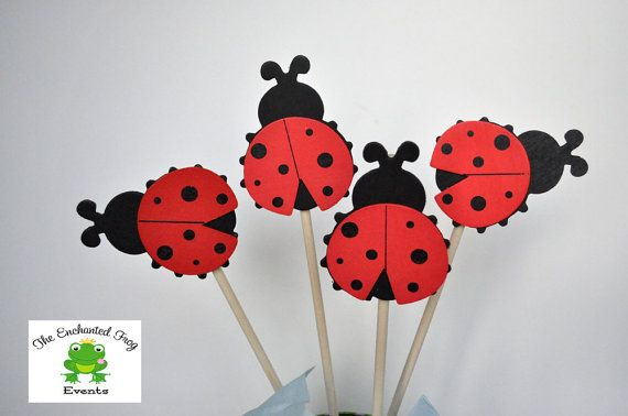 4 Piece Ladybug Party Centerpiece by EnchantedFrogEvents on Etsy, $9.00