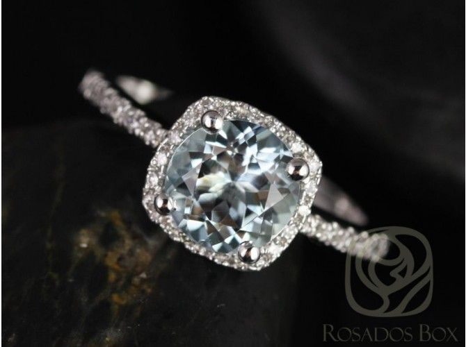 Rosados Box Barra 7mm 14kt White Gold Round Aquamarine and Diamonds Cushion Halo…