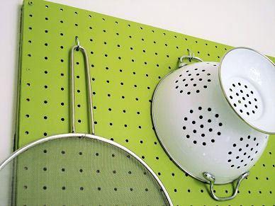 Peg Board Storage in the Kitchen