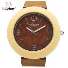 iBigboy Natural Wooden Watch Casual 12 hour Analog Japan Quartz Leather Strap Classic Wristwatch IB-1602Ka(China (Mainland))